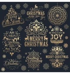 Big set of christmas calligraphic design elements vector