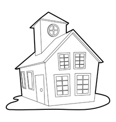 Colored house icon outline style vector