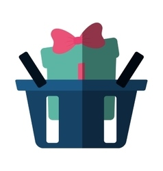 Basket shop with green gift box ribbon color vector