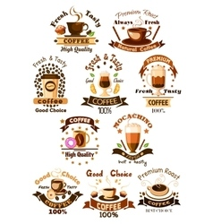Coffee cafe cafeteria emblems set vector