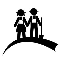 monochrome pictogram with couple of farmers vector image