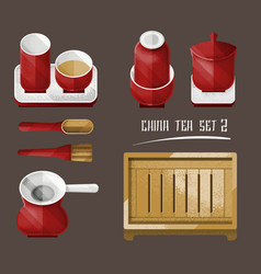Vintage chinese tea utensil collection vector