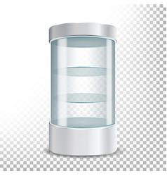 Empty glass showcase realistic round vector