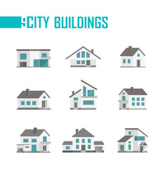 Nine small city buildings set of icons - vector