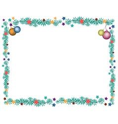 Christmas Balls Decoration on Fir Twigs Border vector image