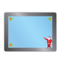 tablet pc with Santa vector image