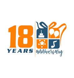 18 year gift box ribbon anniversary vector