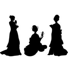 Asian woman geisha set of silhouettes vector image