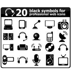 20 black media icons vector