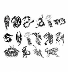 animal tattoo set vector image