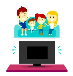 Family watching tv together vector