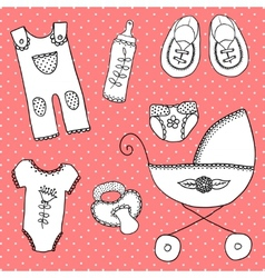 Cute elements for baby arrival card vector