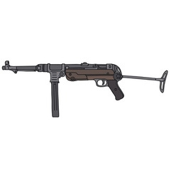 Old automatic gun vector