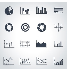 black diagrams icon set vector image
