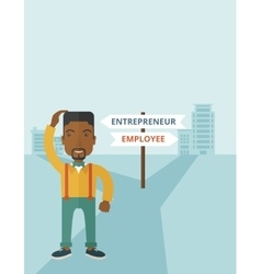 Black guy confused with enterpreneur or employee vector