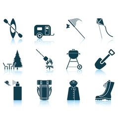 Set of camping icons vector