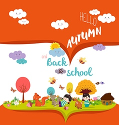 Happy autumn autumn season background with animals vector