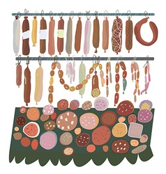 Sausage sale - many sorts on the shelves vector