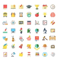 Flat colorful school subjects icons isolated on vector
