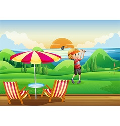 Man playing golf on green vector