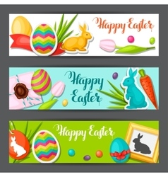 Happy easter banners with decorative objects eggs vector