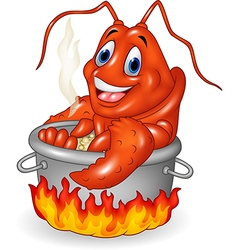 Cartoon funny lobster being cooked in a pan vector
