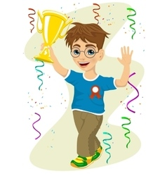 Boy celebrating his victory waving his trophy vector