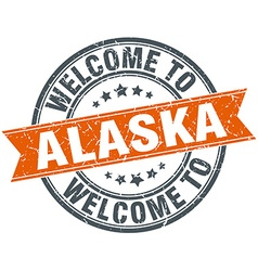 Welcome to alaska orange round ribbon stamp vector