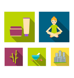 a girl in a yoga lotus pose a jar of cream and a vector image vector image