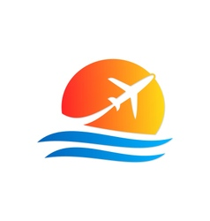 airplane travel logo vector image vector image