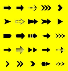 Arrow black icons on yellow background vector image