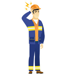 asian builder with lightning over his head vector image vector image