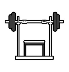 Black silhouette weight lifting machine vector