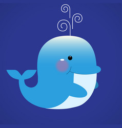 blue smiling whale cartoon character vector image vector image