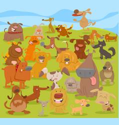 Cartoon cute dogs group vector