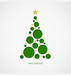 Christmas tree with dots and stars on white vector image vector image