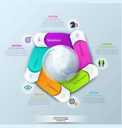 Circular infographic design template with 5 spiral vector