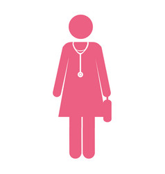 color silhouette pictogram female doctor with vector image vector image