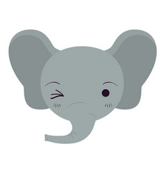 Colorful caricature cute face of elephant wink eye vector