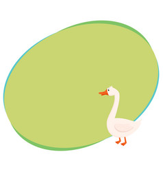 Cute and funny white farm goose isolated cartoon vector