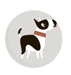 Cute bull terrier dog in a circle vector