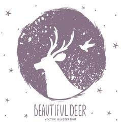 Deer silhouette grunge vector