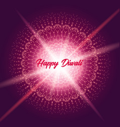 diwali greeting card with shine rangoli vector image