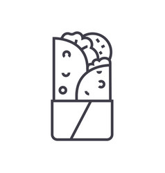 Doner kebab line icon sign vector