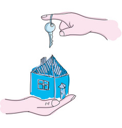 Drawn hands holding house with key vector