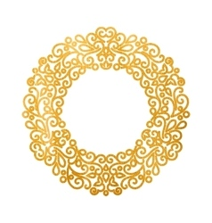 Elegant luxury retro golden floral round frame vector