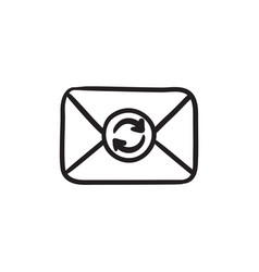 Envelope mail with refresh sign sketch icon vector