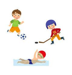 Flat boys doing sports set vector