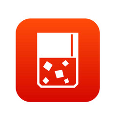 Glass of whiskey and ice icon digital red vector