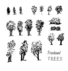 graphic tree set vector image vector image